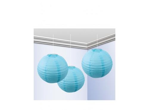 Pack de 3 Faroles 25 cm Azul Celeste