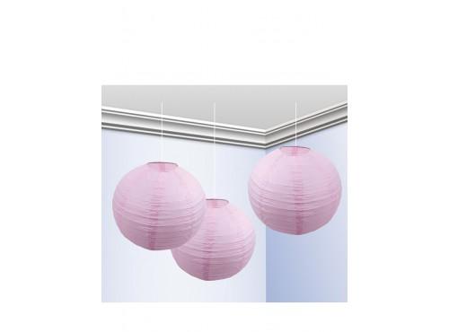 Pack de 3 Faroles 25 cm Rosa Pastel