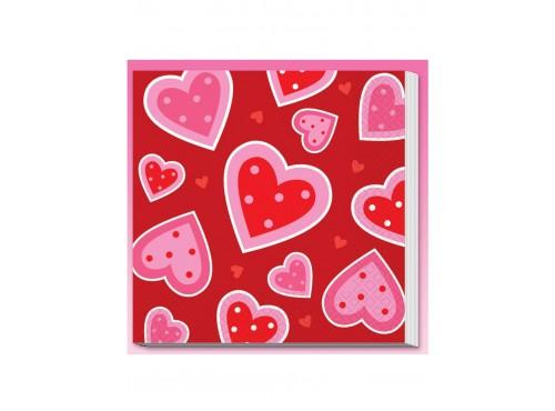 Set de servilletas de corazones San Valentín