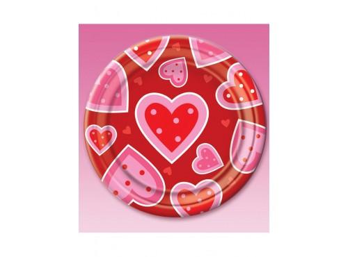 Set de 8 platos de corazones San Valentín