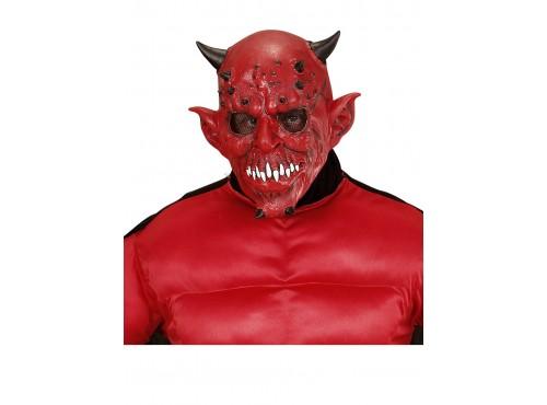 Máscara de demonio rojo con cuernos