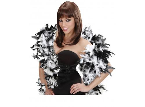 Boa de plumas en colores blanco y negro estilo lujo para mujer