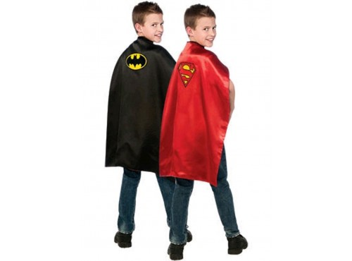 Capa de Batman y Superman reversible para niño
