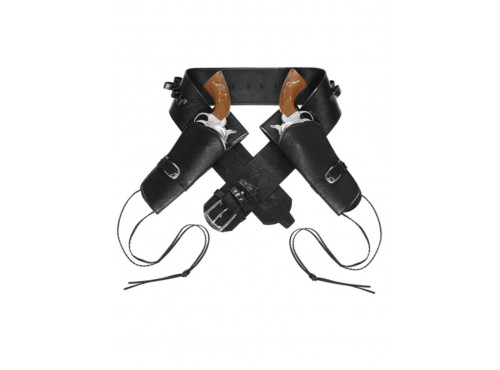 Cinturón con doble funda para pistola negro para hombre