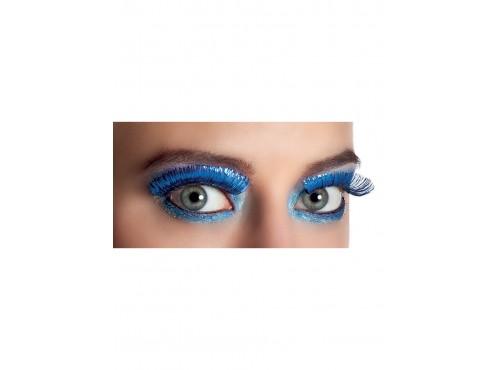 Pestañas azules metalizadas para mujer