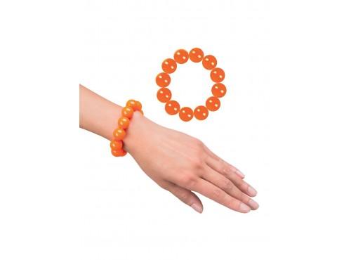 Pulsera naranja de perlas para mujer