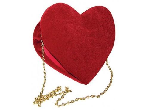 Bolso de mano de corazón de terciopelo