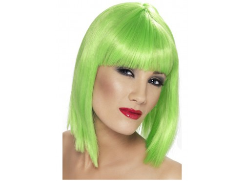 Peluca glamurosa verde neón con flequillo