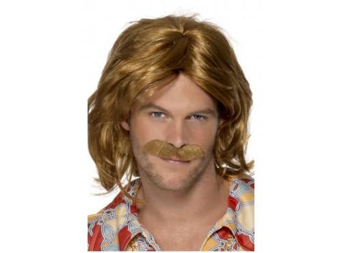 Peluca y bigote de los 70 marrón