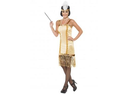 Disfraz de joven charlestón a la moda de los años 20 dorado