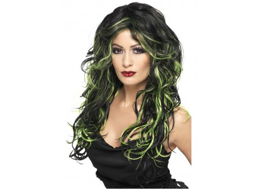 Peluca de novia gótica negra y verde