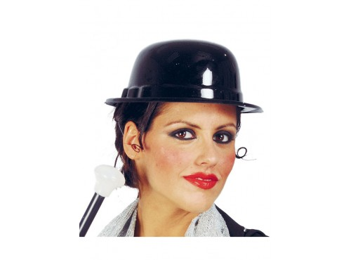 Sombrero bombín de plástico negro